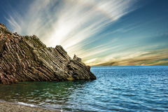 Summer beach rock, Budva, Montenegro Royalty Free Stock Photo