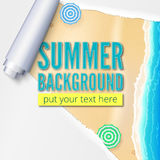 Summer beach with sand, surf and beach umbrellas. Background with torn and twisted paper. Blank advertising poster Royalty Free Stock Photography