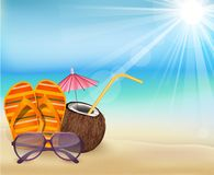 Summer beach, sandals colorful flip- flops, with young coconut and sunglasses Royalty Free Stock Image