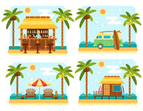 Summer beach scene. Beach scene with bar, surf van, umbrella, chair and bungalow hotel. Flat summer beach, palm tree and sea waves vector landscape. Tropical Stock Photo