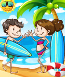 Summer beach scene with boy and girl Royalty Free Stock Photo