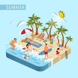 Summer beach scene concept Royalty Free Stock Photo