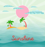 Summer beach scene: sun, clouds in the sky, palms, abstract wave Royalty Free Stock Photo