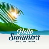 Summer beach scene with sun light and leaves. Vector stock illustration