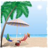 Summer beach by the sea, ocean. Royalty Free Stock Photography