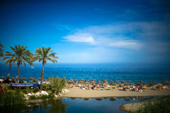 Summer beach and sea view on The Mediterranean Sea in Marbella Stock Photography