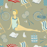 Summer beach seamless background Stock Photo