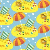 Summer beach seamless pattern Royalty Free Stock Photos