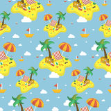 Summer beach seamless pattern Stock Photos
