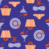 Summer beach seamless pattern with bikini and cocktails. 80s, 90s retro style. Fashion textile design, geometric shapes. Vector illustration Stock Photo