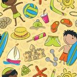 Summer beach seamless pattern Royalty Free Stock Photos