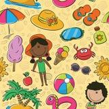 Summer beach seamless pattern vector illustration
