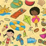 Summer beach seamless pattern Stock Photos