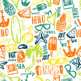 Summer beach seamless pattern.. Hand drawn doodle vector symbols and objects with lettering Royalty Free Stock Images