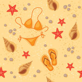 Summer beach seamless pattern Stock Photo