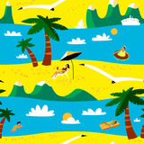 Summer beach seamless pattern. Tropical background with beach ac Royalty Free Stock Photography