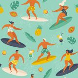 Summer beach seamless pattern in vector. Surf illustration in retro style. Royalty Free Stock Image