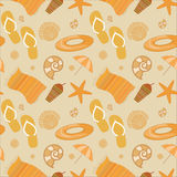 Summer beach seamless vector pattern. With beach elements Stock Photography