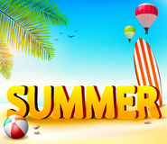 Summer Beach Seashore Background with Palm Tree and Beach Ball Royalty Free Stock Photos