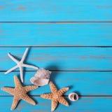Summer beach seashore background starfish blue wood paint peeling stock images