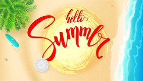 Summer Beach Seashore For Touristic Events, Travel Agency Actions. Summer Banner With Handwritten Text, Brush Pen Stock Photo