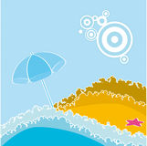 Summer. Beach at the seaside with umbrella Royalty Free Stock Photo