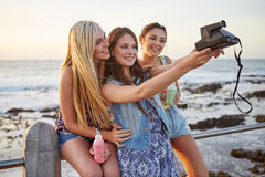 Summer beach selfie royalty free stock photography