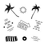Summer beach set in old school tattoo style Royalty Free Stock Photo