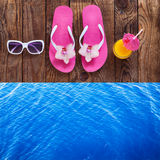 Summer beach, set of summer accessories Royalty Free Stock Photo