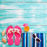 Summer beach, set of summer accessories Stock Images