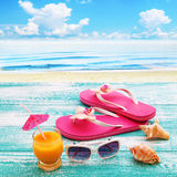 Summer beach, set of summer accessories. Summer vacation Royalty Free Stock Photos