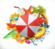 Summer beach set, vector icon vector illustration