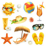 Summer beach, set of vector icons Stock Photos