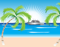 Summer Beach With A Ship. Vector illustration of summer beach with a boat and coconut palm trees and sunbeam Royalty Free Stock Photography