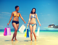 Summer Beach Shopping Travel Destination Concept Royalty Free Stock Photography