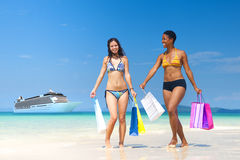 Summer Beach Shopping Travel Destination Concept Stock Photography