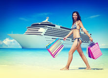 Summer Beach Shopping Travel Destination Concept Stock Photos