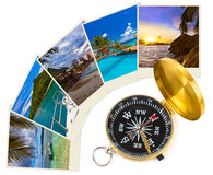 Summer beach shots and compass Royalty Free Stock Images