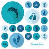 Summer and Beach Simple Flat Icons Royalty Free Stock Image