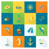 Summer and Beach Simple Flat Icons Stock Images