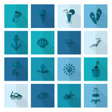 Summer and Beach Simple Flat Icons Royalty Free Stock Images