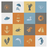 Summer and Beach Simple Flat Icons Stock Photography