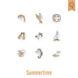 Summer and Beach Simple Flat Icons Royalty Free Stock Photo