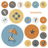 Summer and Beach Simple Flat Icons Royalty Free Stock Photography