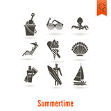 Summer and Beach Simple Flat Icons Stock Photos