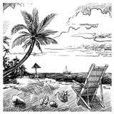 Summer Beach Sketch Stock Photo
