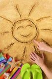 Summer beach smiling sun Royalty Free Stock Image