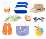Summer Beach Staff Set Isolated. Royalty Free Stock Image