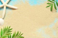 Summer beach. Starfish and on the sand. Summer beach. Starfish on the sand and palm branch Stock Images