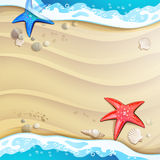 Summer beach with starfish Stock Photos